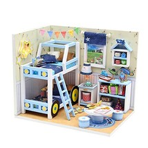 Mini House Building Kit for Adults with LED light and Dust Proof Tiny Home Dollh
