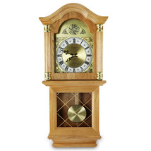 Bedford Clock Collection Classic 26 Inch Wall Clock in Golden Oak Finish - $112.49