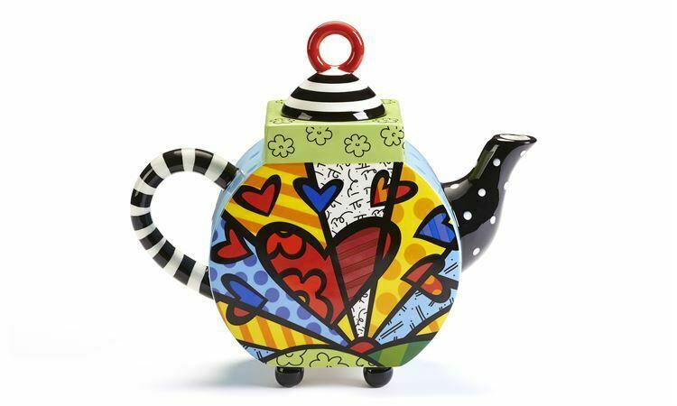Romero Britto Ceramic Teapot - A New Day Design 63oz size #334015