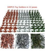 100pcs/set Military Plastic Toy Soldiers Army Men Figures 12 Poses  3 Co... - $5.88
