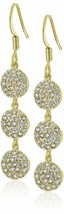 Chloe + Theodora Gold Plated Cubic Zirconia Crystal Triple Crown Earrings NWT