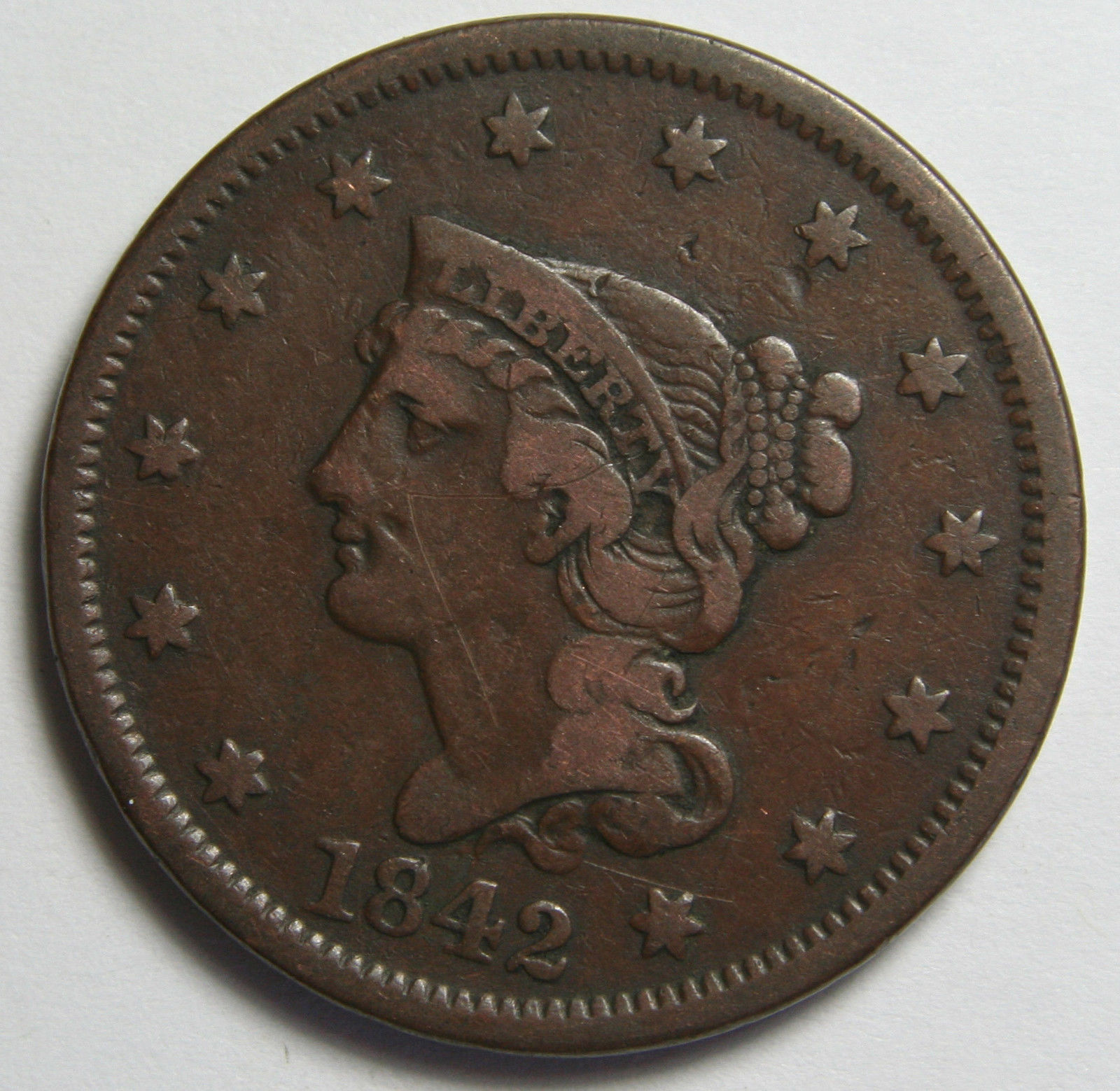 1842 Large Cent Liberty Braided Hair Head Coin Lot # MZ 4092