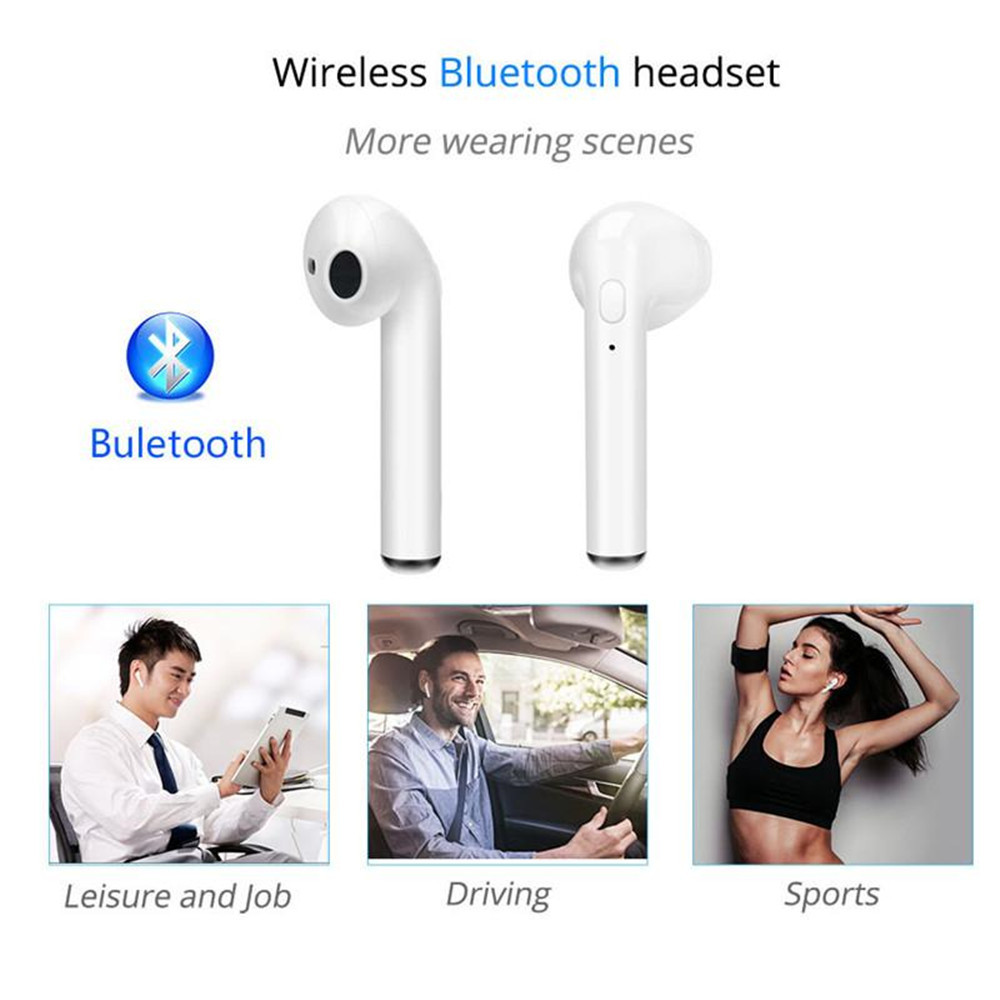 """i7S Mini Bluetooth """"Airpods Style"""" Earbuds Headset for Apple iPhone & Android"""