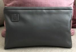 Anne Klein Dark Grey Leather Clutch Bag Vintage $40 - $40.00