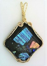 Multi-Color Collage Dichroic Glass Gold Wire Wrap Pendant 1 - $39.00