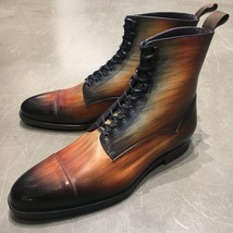 Handmade Tan Patina Ankle High Boots for Mens Premium Quality Custom made boots - $189.99 - $219.99