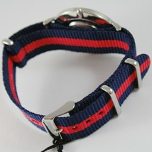 CAPITAL WATCH QUARTZ MOVEMENT 36 MM CASE, BLUE AND RED FABRIC BAND NYLON VINTAGE image 2