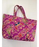 """Purse, Unbranded, Cotton Multi-Color Floral Print, Large 19x11"""" - $33.19"""
