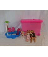 Barbie Glam Pool + Barbie Rolling Doll Storage Case, Pink + Dolls + Horse - $33.02