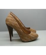 MIA Ultra High Heel SHOES Woman's 8 M Woven Fabric Tan Accents FANCY Sti... - $19.79