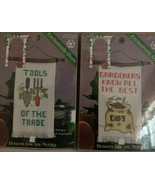 "2 Cross Stitch Kits ""Tools Of The Trade"" ""Gardeners Know Best Dirt"" 2 1/... - $15.79"
