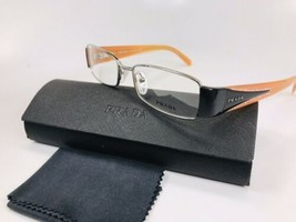 ✴ New Prada VPR 59I 1AX-1O1 Silver with Black & Ora Eyeglasses 50mm with Case - $94.05