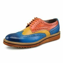 Made To Order Mens Multi Color Genuine Leather Wing Tip Oxford Vintage Shoes - $139.90+