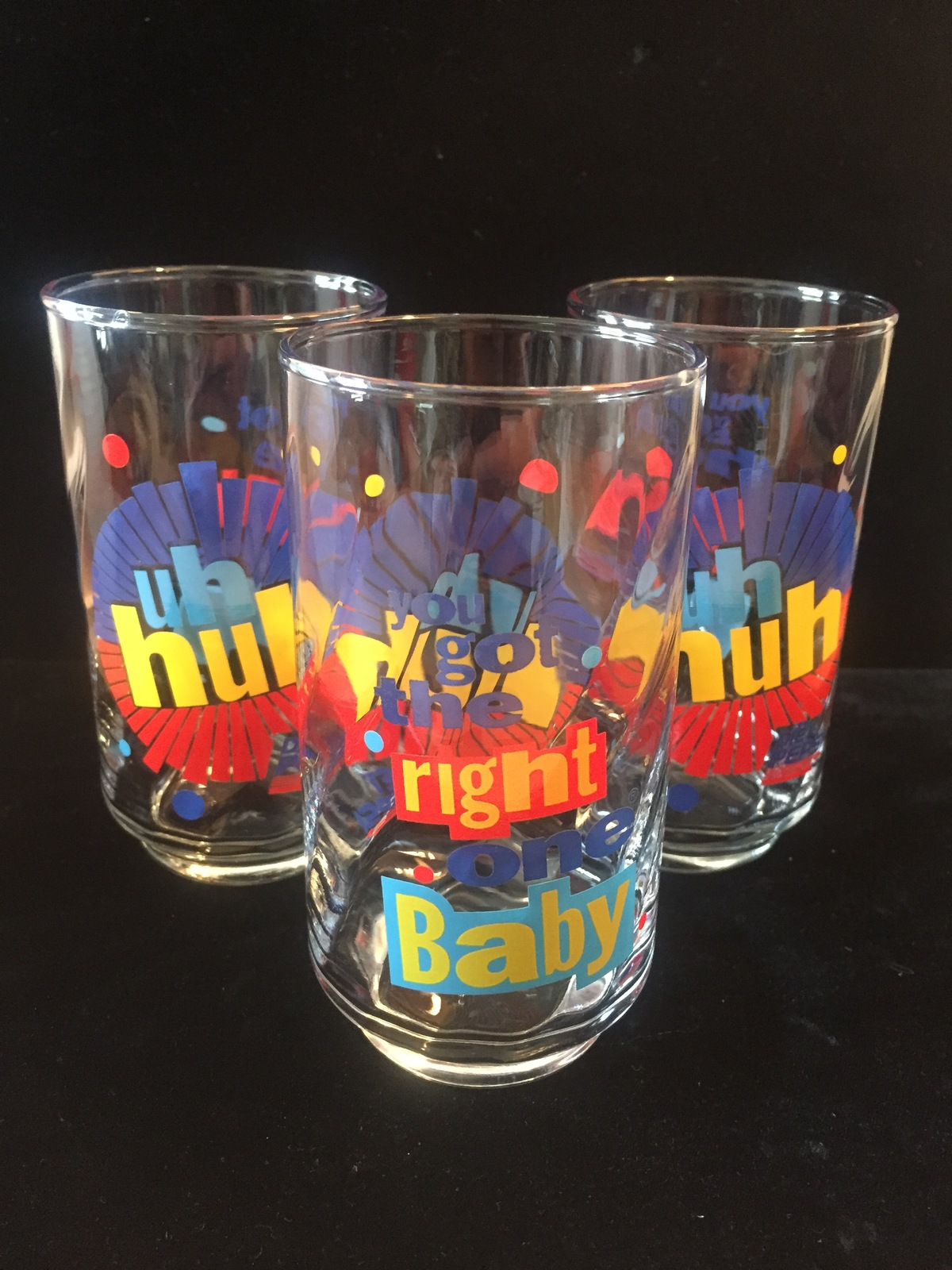 "Set of 3 Vintage 90s Diet Pepsi ""You Got the right one baby"" Promo Tumblers"