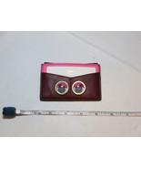 Fossil SL7277609 Card Case Eyes Wine pink burgundy mini wallet Leather N... - $24.94