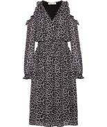 $165  Michael Kors Leopard Cold-Shoulder Printed Chiffon Midi Dres Black XL - $122.65