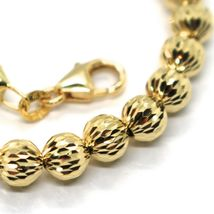 18K YELLOW GOLD BRACELET 19 CM, FINELY WORKED SPHERES BIG 5 MM DIAMOND CUT BALLS image 3