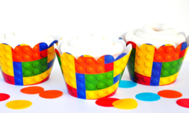 Building Blocks Cupcake Wrappers, Cupcake Wrappers, Building Blocks Part... - $6.80