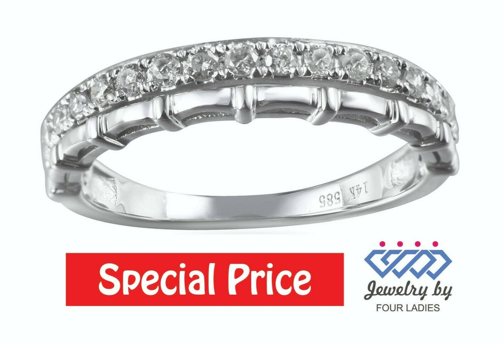 Primary image for Round Cut Diamond Promise Fancy Ring 14K White Gold 0.31CT Fine Jewelry For Her