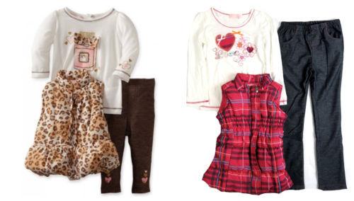 4-6x Girl's 3-Piece Vest, Leggings & Long Sleeve Shirt Set Kids Headquarters NEW