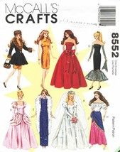 """1996 Dresses / Gowns For 11½"""" Fashion Dolls Mc Call's Pattern 8552 Uncut - $14.00"""