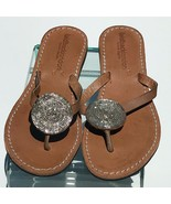NEW Laidback London Leather Thong Sandals 39 8.5 Silver Disk Beaded NWOT  - $85.49