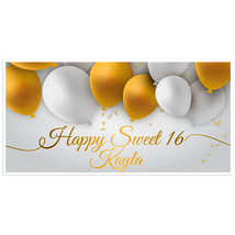 Gold and White Balloons Sweet 16 Birthday Banner - $22.28