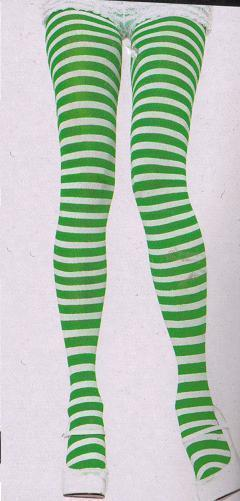 ADULT GREEN & WHITE STRIPE TIGHTS ONE SIZE