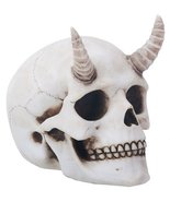 """Ebros Gift Horned Demon Skull Figurine Small 4"""" Long Resin Statue Collec... - $14.99"""