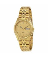 NEW Seiko Solar SNE036 Champagne Dial Men's Stainless Steel Watch MSRP $205 - $102.50