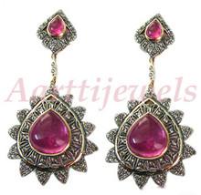 Victorian 3.12ct Rose Cut Diamond Pink Tourmaline Earrings Vintage VTJ EHS - $516.97