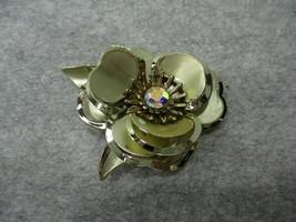 Big Brushed & Shiny Gold Tone Flower Rose Pin Brooch Clear Rhinestone Ce... - $10.99