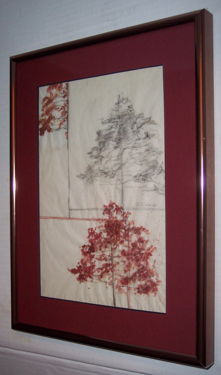 "Rare 1980's Hand Signed Steven Sidare Mixed Media ""Tree's""Art"