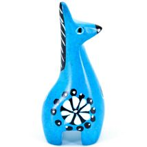 Tabaka Chigware Hand Carved Kisii Soapstone Miniature Blue Giraffe Figurine image 3