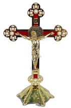 Stand Altar Cross Crucifix Jesus Church gold&Enameled inri Jerusalem Hol... - $42.03