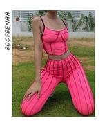 BOOFEENAA Striped Two Piece Jogger Sets Club Outfits Sexy Women Clothing... - $35.83
