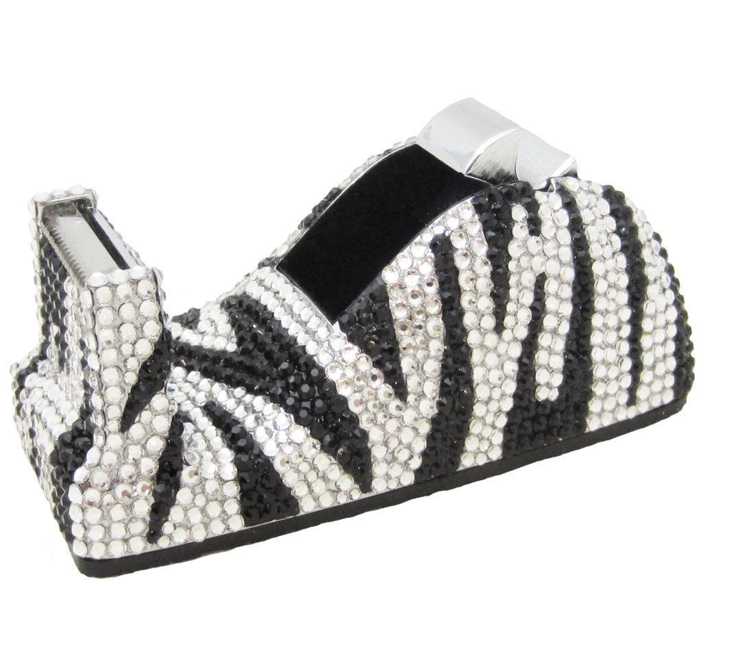 Zebra Crystal Stapler & Tape Dispenser Silver Metal Desk Accessory Set