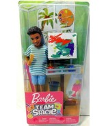 New Barbie Team Stacie Art Class Exclusive Playset With Boy Doll & Acces... - $14.49