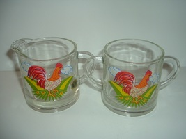 Westmoreland Glass Rooster Decal Cream and Sugar - $45.00