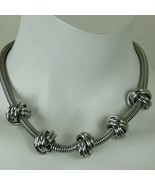 Vintage 80s Silver Tone Knotted Choker Necklace Lobster Claw Adjustable ... - $39.55