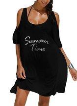Womens Letters Print Baggy Swimwear Bikini Cover-ups Beach Dress  - $17.77