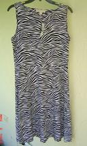 NWT MICHAEL KORS BLACK WHITE BLACK ZEBRA PRINT CUT BACK  DRESS SIZE L $120 - $43.51