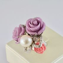 925 Silver Ring Rhodium with Zircon Cubic Roses of Resin and Pearl White image 3