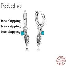 Silver925 jewelry tassel earring Feather Pendant Earrings  Summer Origin... - $27.04