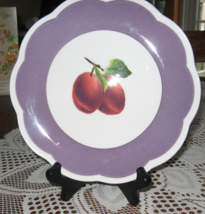 """Orchard in Bloom-Plum with Purple Band-8"""" Dessert/Pie Plate-Lenox-USA - $6.00"""