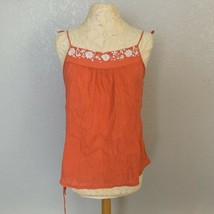 Ella Moss Camisole Womens Large Floral Embroidery Coral Pink Orange Tied... - $15.90