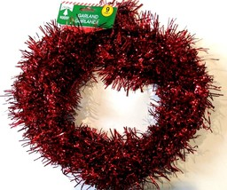 "NEWLY LISTED Christmas House Shiney Red Tinsel Garlands 9 foot length 2"" wide - $6.50"