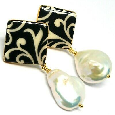 EARRINGS SILVER 925, HANGING, PEARLS BAROQUE STYLE DROP, DECORATION WHITE BLACK