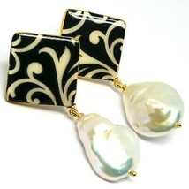 EARRINGS SILVER 925, HANGING, PEARLS BAROQUE STYLE DROP, DECORATION WHITE BLACK image 1