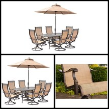 Outdoor Dining Sets For 6 With Swivel Rockers Umbrella Stand Garden Furn... - ₹198,890.04 INR